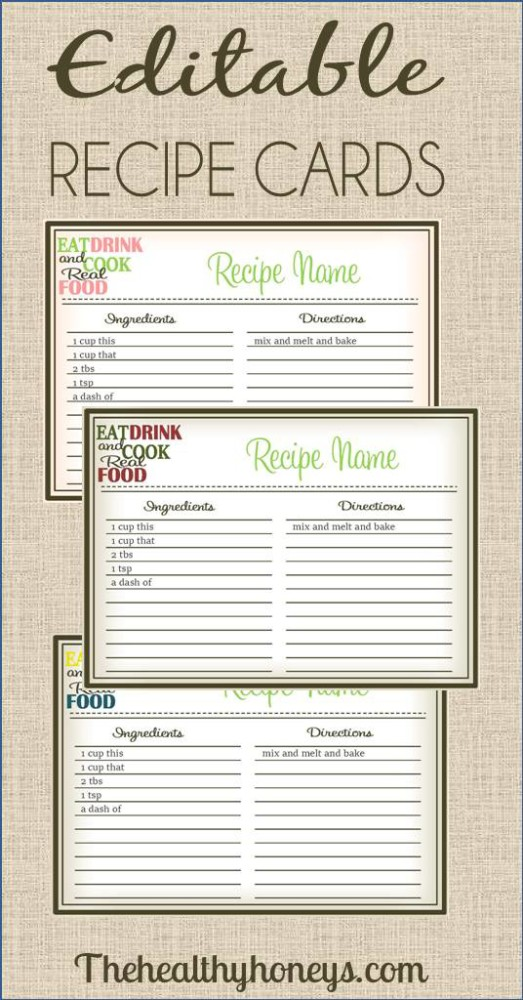 real food recipe cards diy editable the healthy honeys. Black Bedroom Furniture Sets. Home Design Ideas