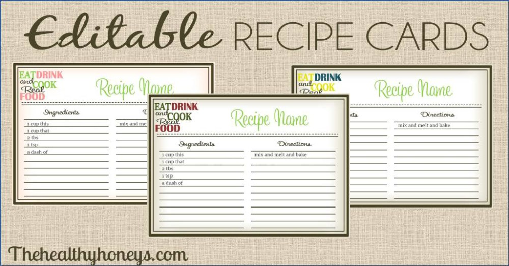 Real Food Recipe Cards Diy Editable  The Healthy Honeys