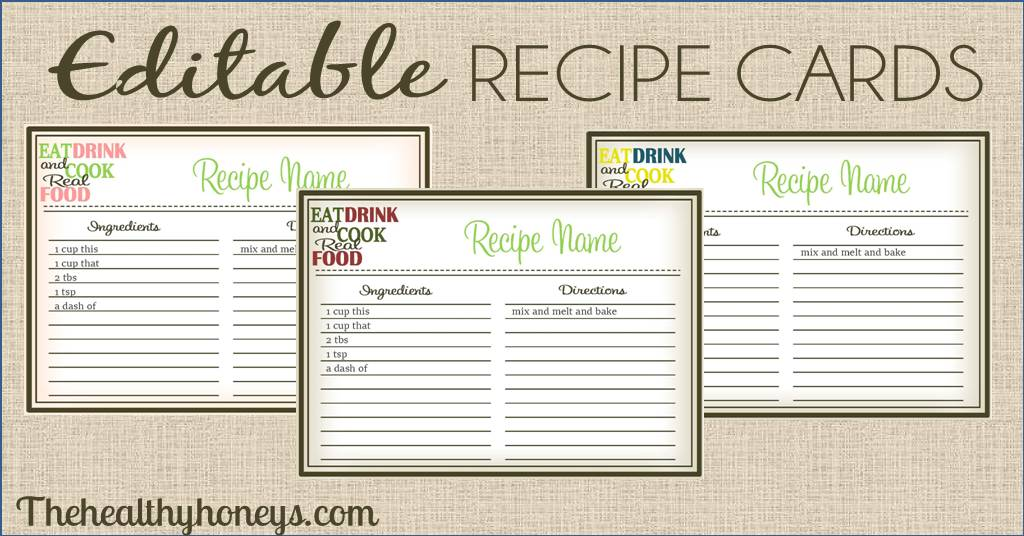 Real food recipe cards diy editable the healthy honeys for Free editable recipe card templates for microsoft word