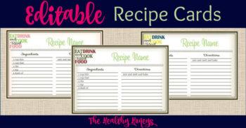 Real Food Recipe Cards: DIY, Editable