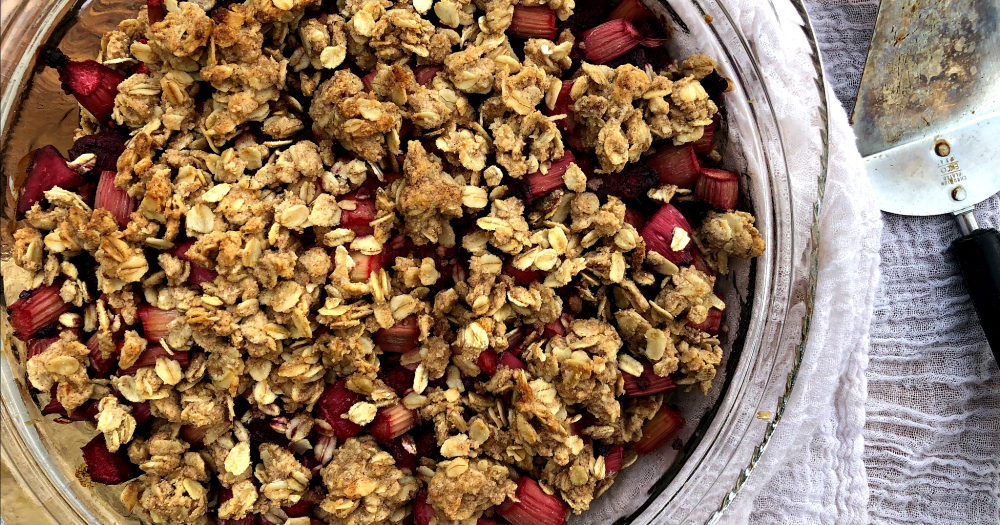 Healthy Rhubarb Crisp (vegan and gluten free options)