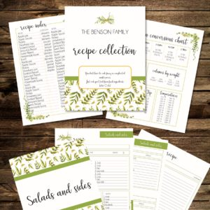 editable Recipe binder